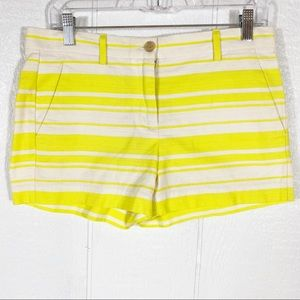 Gap Neon Yellow and White Striped Shorts